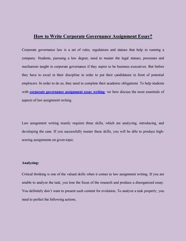 how to write corporate governance assignment essay by ameeliabrown  how to write corporate governance assignment essay corporate governance law is a set of rules regulations and statues that help in running a company