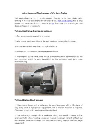 Advantages and disadvantages of wet sand casting by parfect