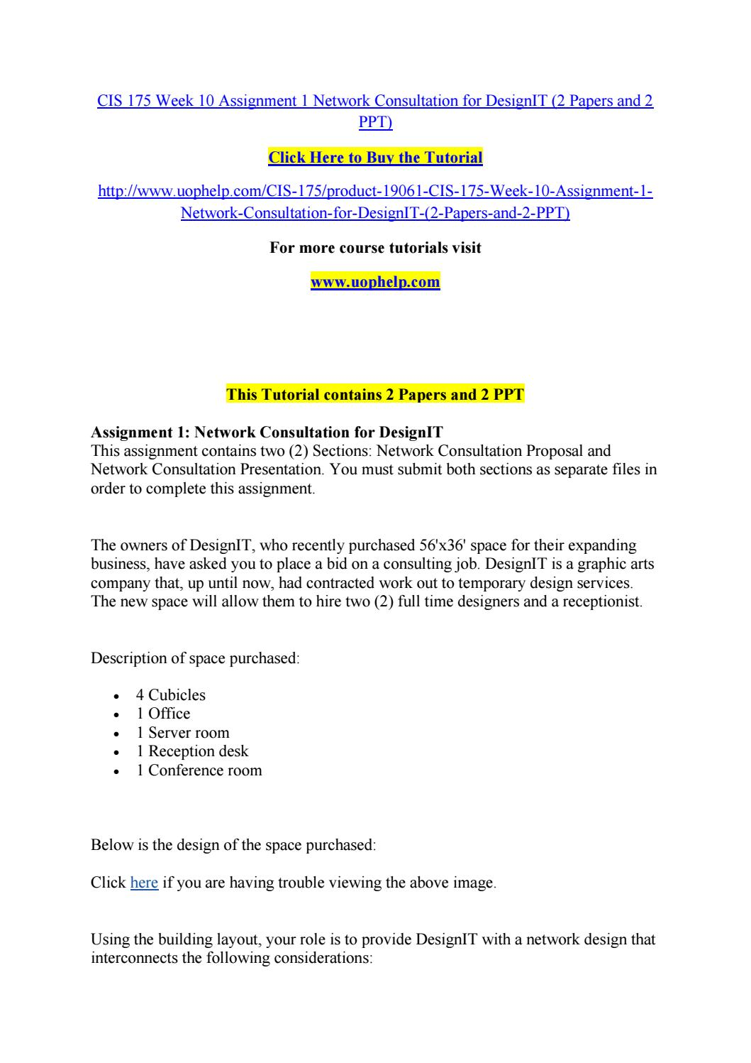 Cis 175 week 10 assignment 1 network consultation for