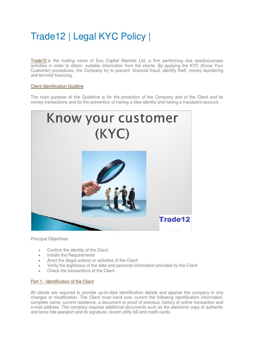 All kyc policy Of Trade12 by Forex Brokers - issuu