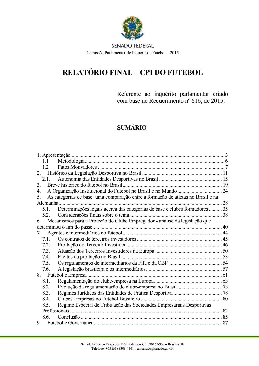 d74cf844845 Romerojucá relatório final cpi futebol entrega by Daniel Reis Duarte Pousa  - issuu