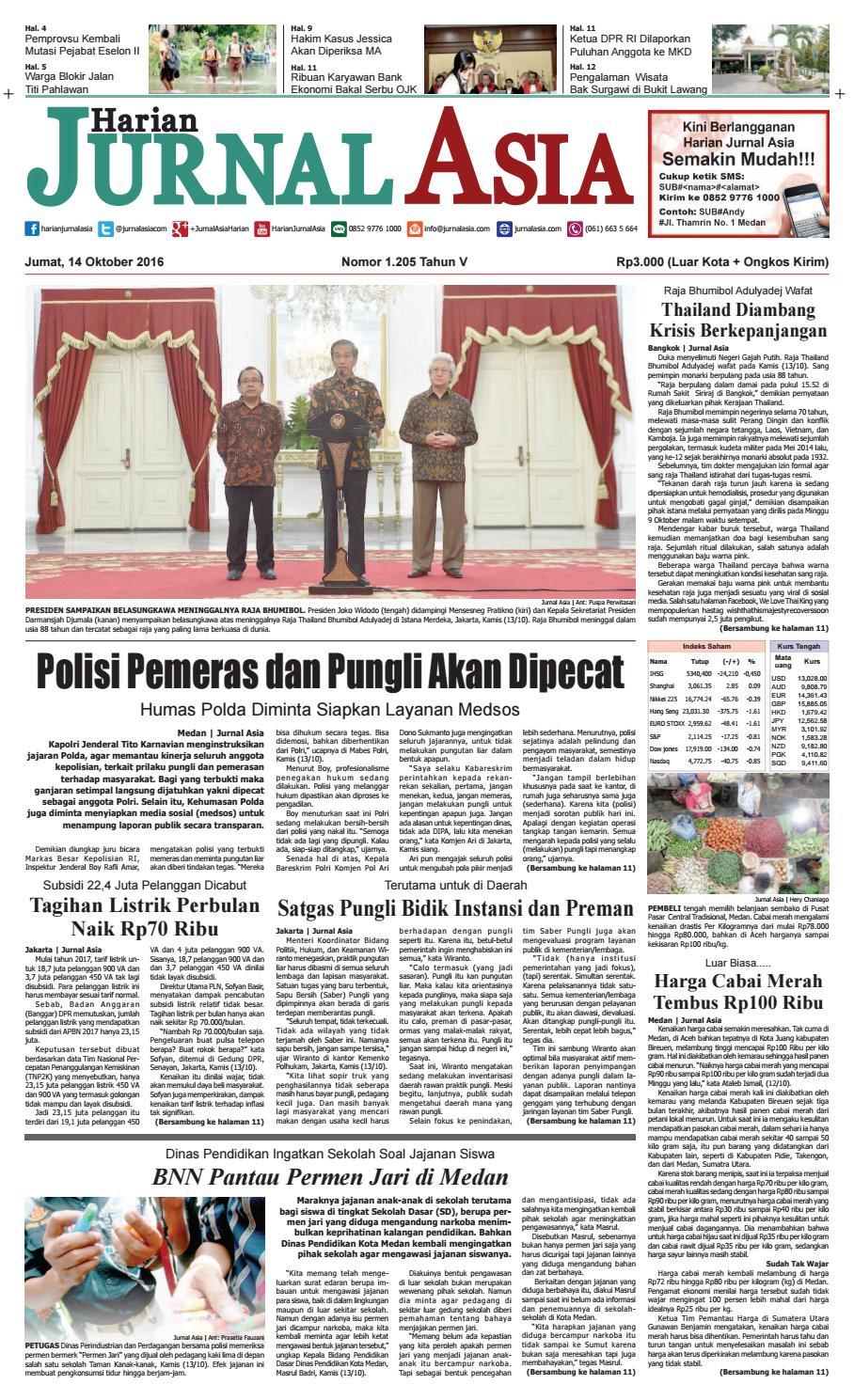 Harian Jurnal Asia Edisi Jumat, 14 Oktober 2016 by Harian Jurnal Asia - Medan - issuu