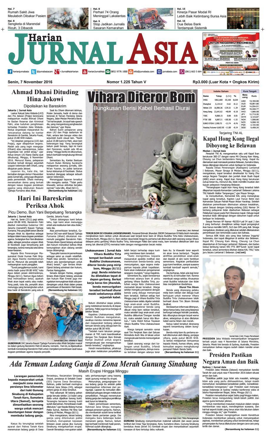 Harian Jurnal Asia Edisi Senin, 07 November 2016 by Harian Jurnal Asia - Medan - issuu
