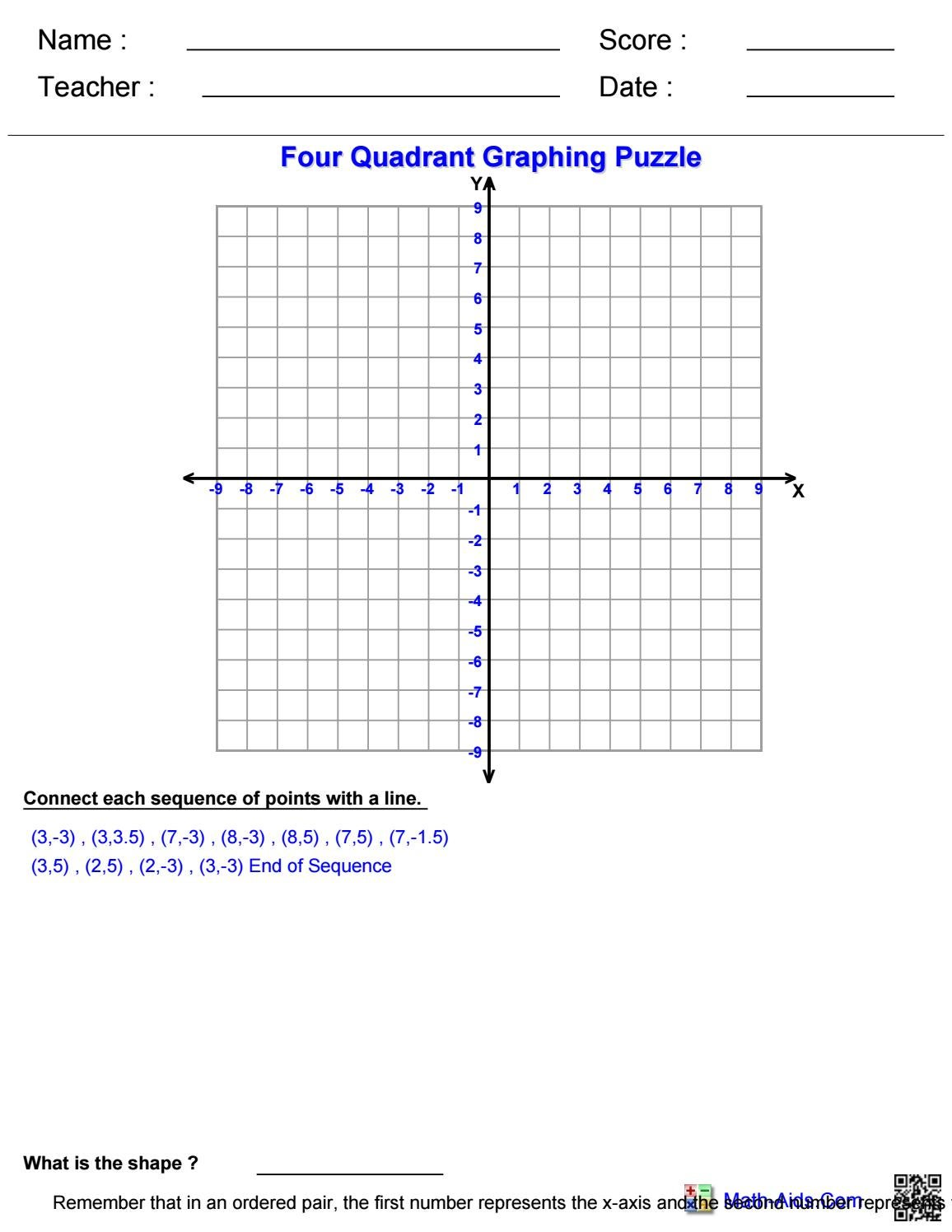 worksheet 4 Quadrant Graphing Worksheets four quadrant ordered pairs worksheet word problems pre algebra graphing puzzle