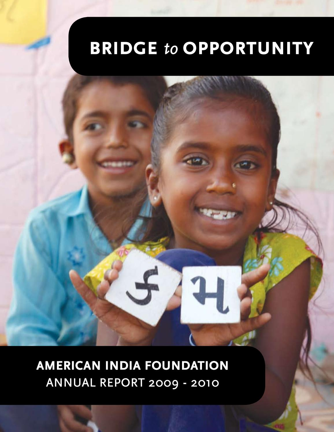 Annual Report 2009-10 by American India Foundation - issuu