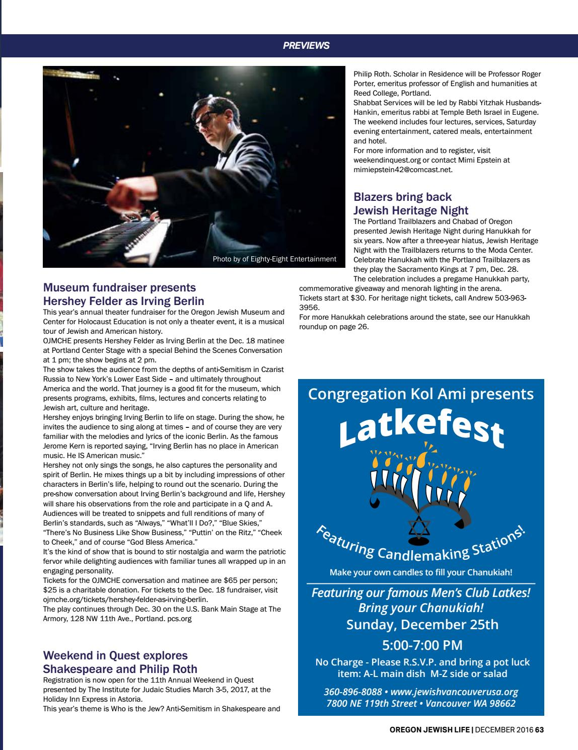 Oregon Jewish Life December 2016 Vol 5/Issue 10 by
