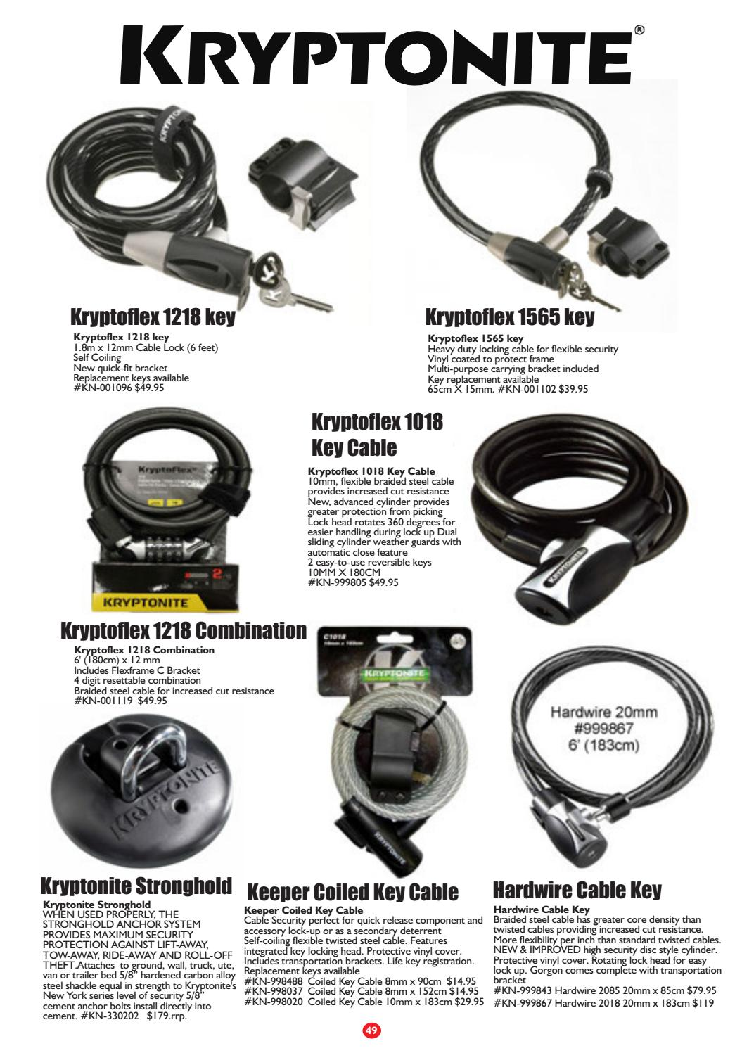NEW Kryptonite KryptoFlex 1018 Combo Cable Lock 6/' x 10mm