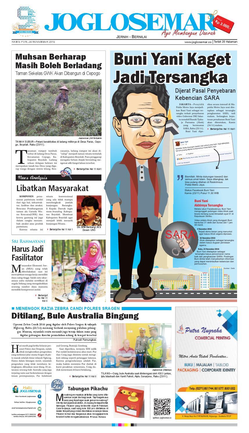 E Paper 24 November 2016 By PT Joglosemar Prima Media Issuu