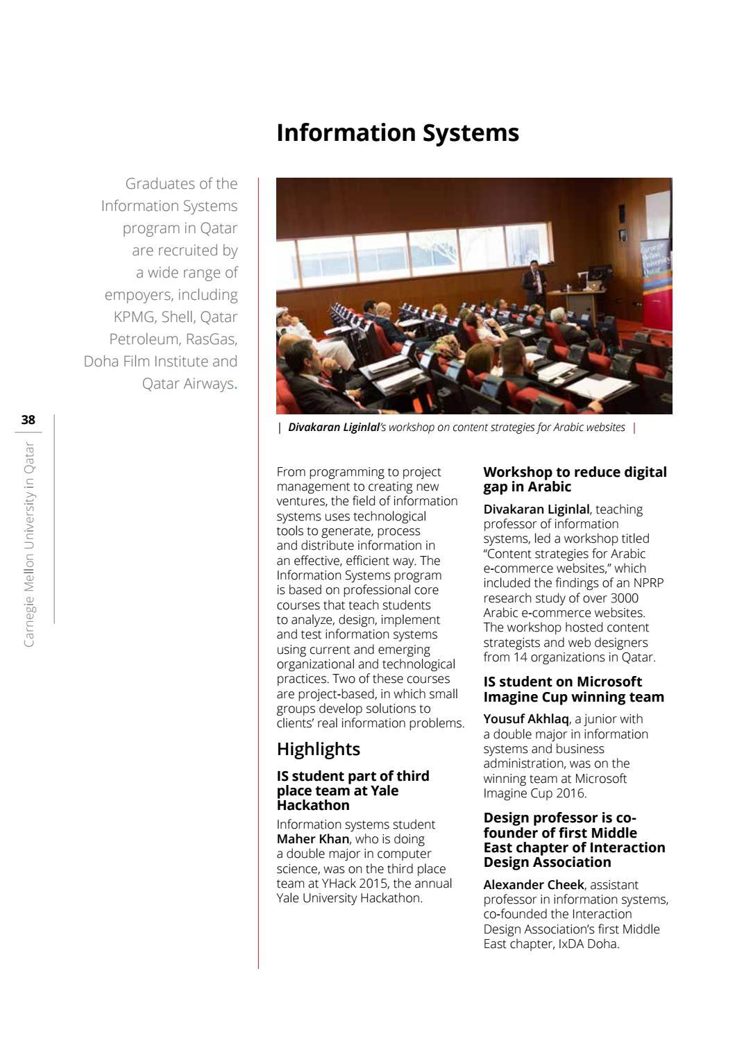Carnegie Mellon Qatar Annual Report 2015-16 by Carnegie