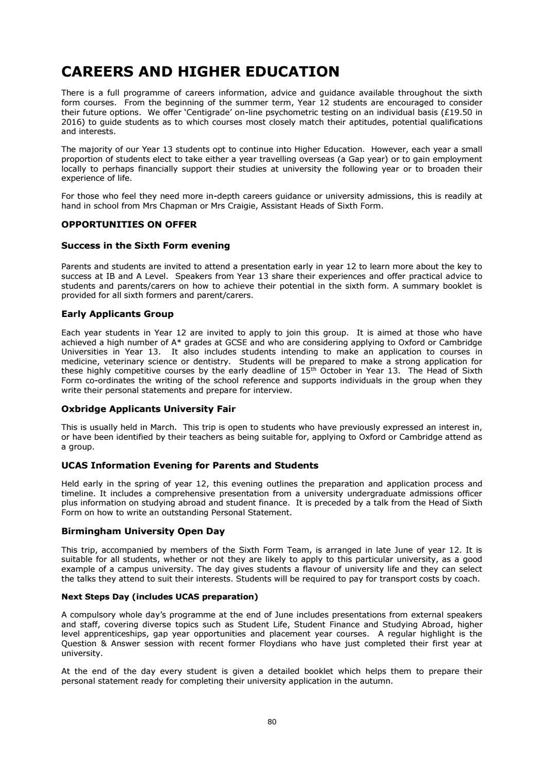 sir henry floyd grammar school sixth form prospectus 2017