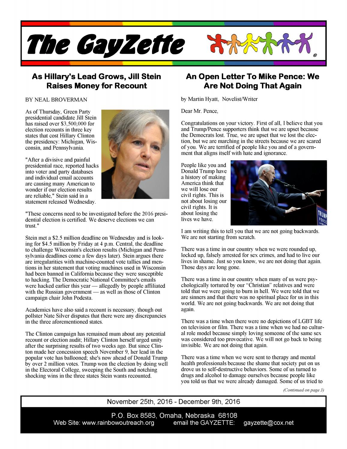 The Gayzette November 25th 2016 Issue By Rainbowoutreach