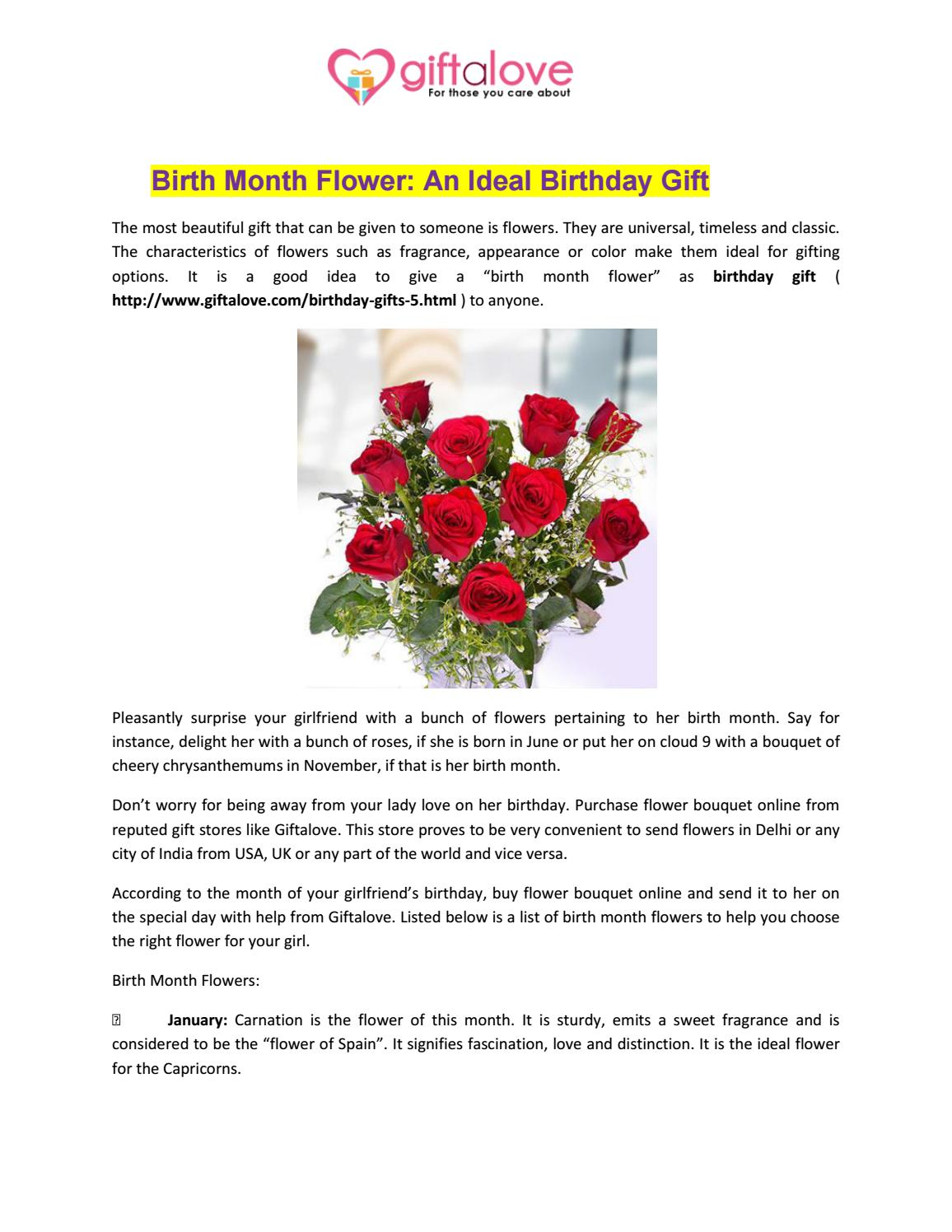 Birth Month Flower An Ideal Birthday Gift By GiftaLove