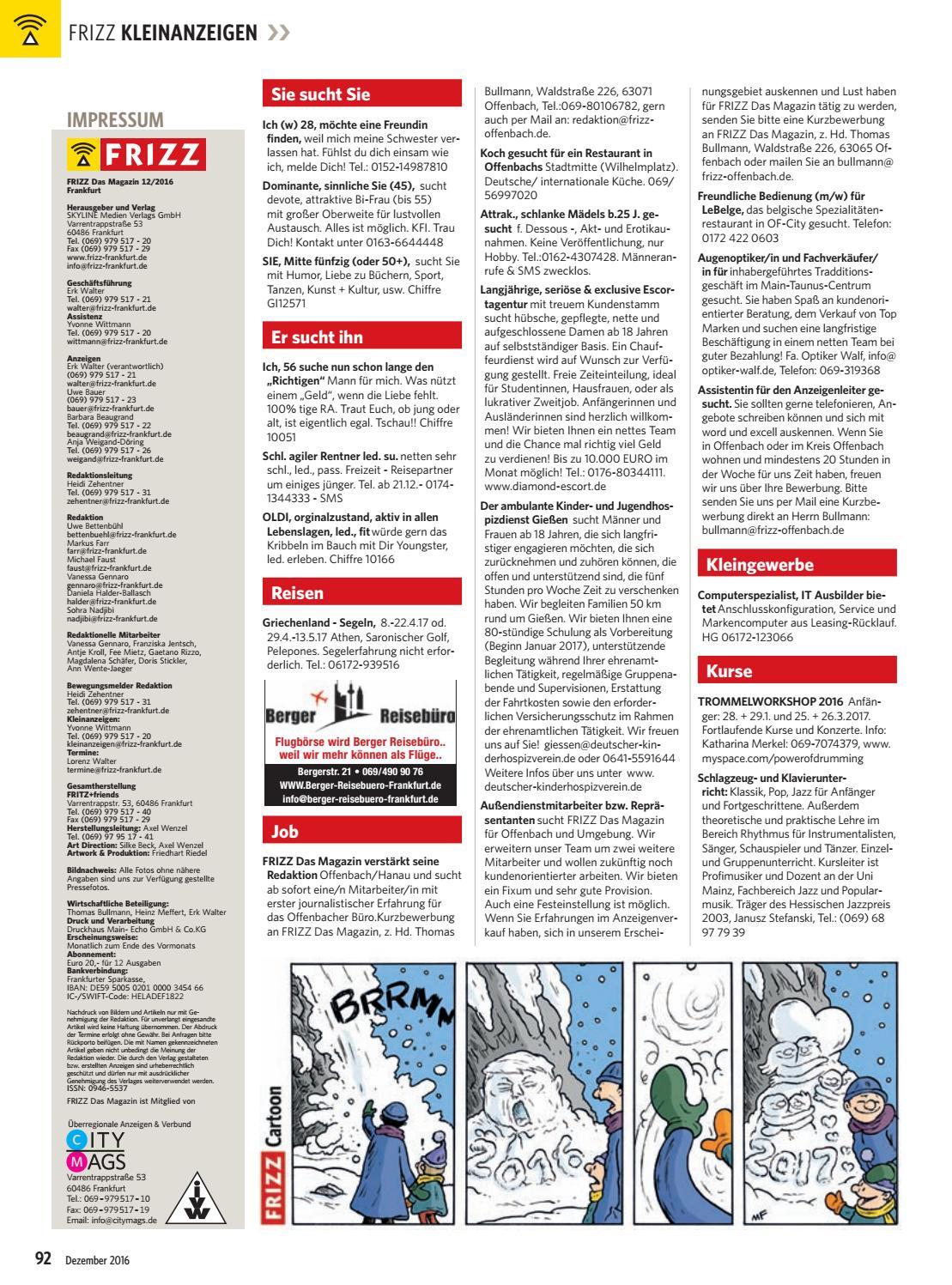 FRIZZ Das Magazin Frankfurt Dezember 2016 by frizz frankfurt