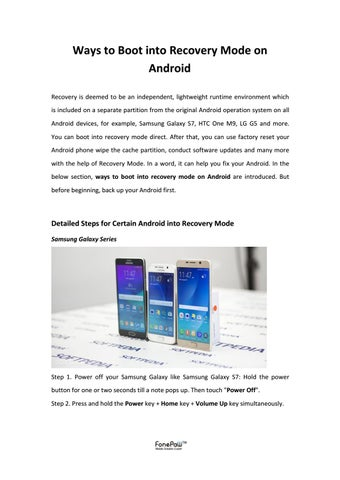 Ways to boot into recovery mode on android by FonePaw - issuu