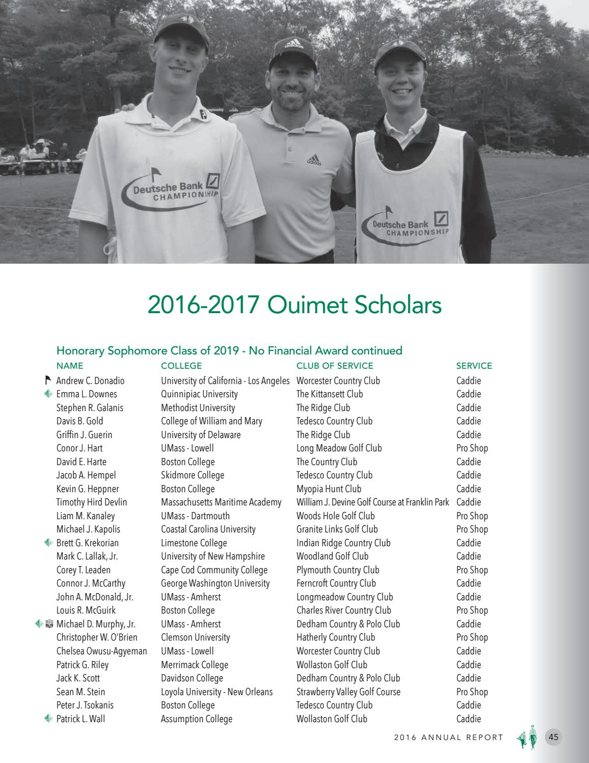2016 Ouimet Fund Annual Report by Francis Ouimet Scholarship Fund - issuu