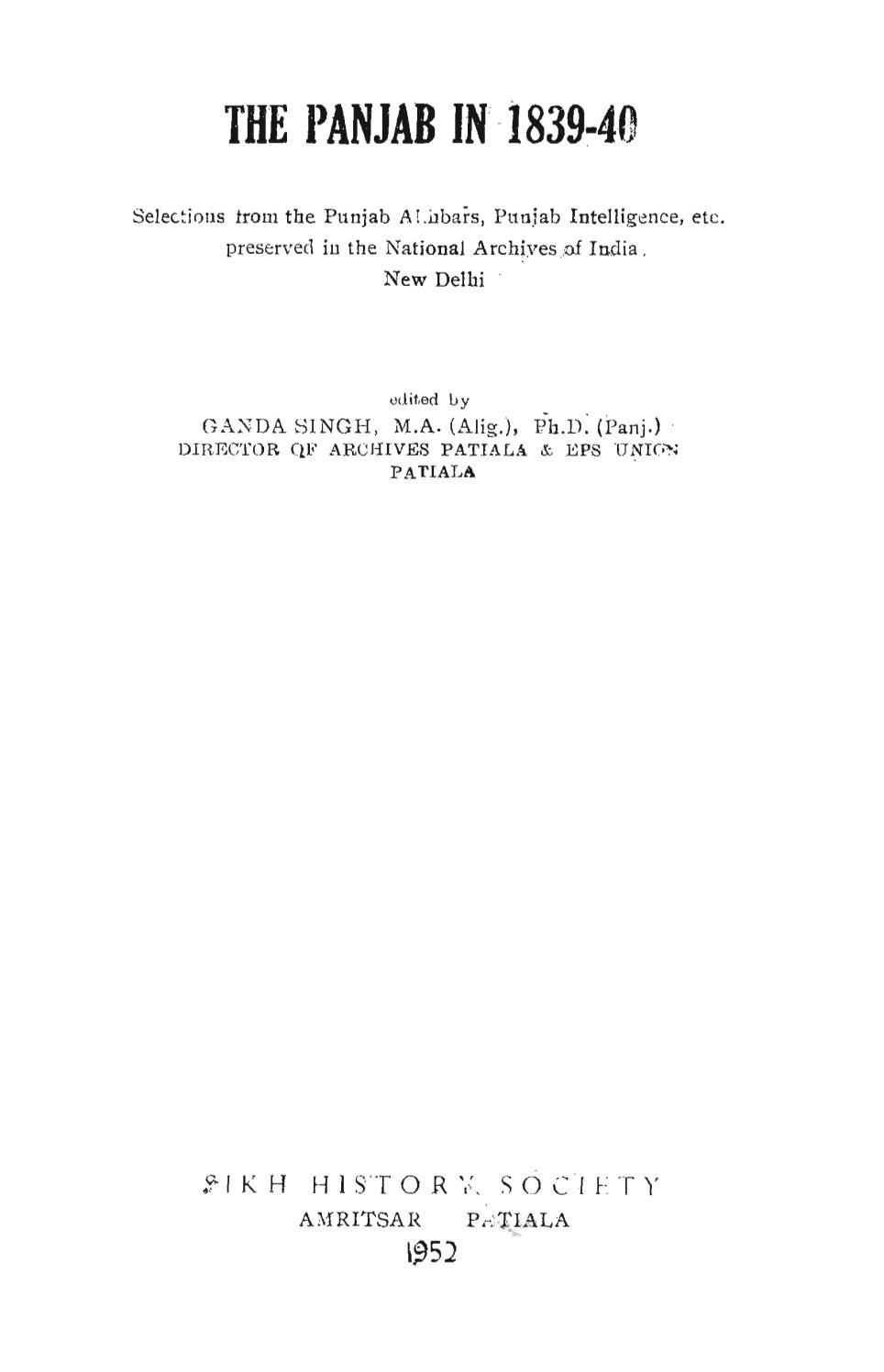 The panjab in 1839 40 selections from the punjab akhbars, punjab ...