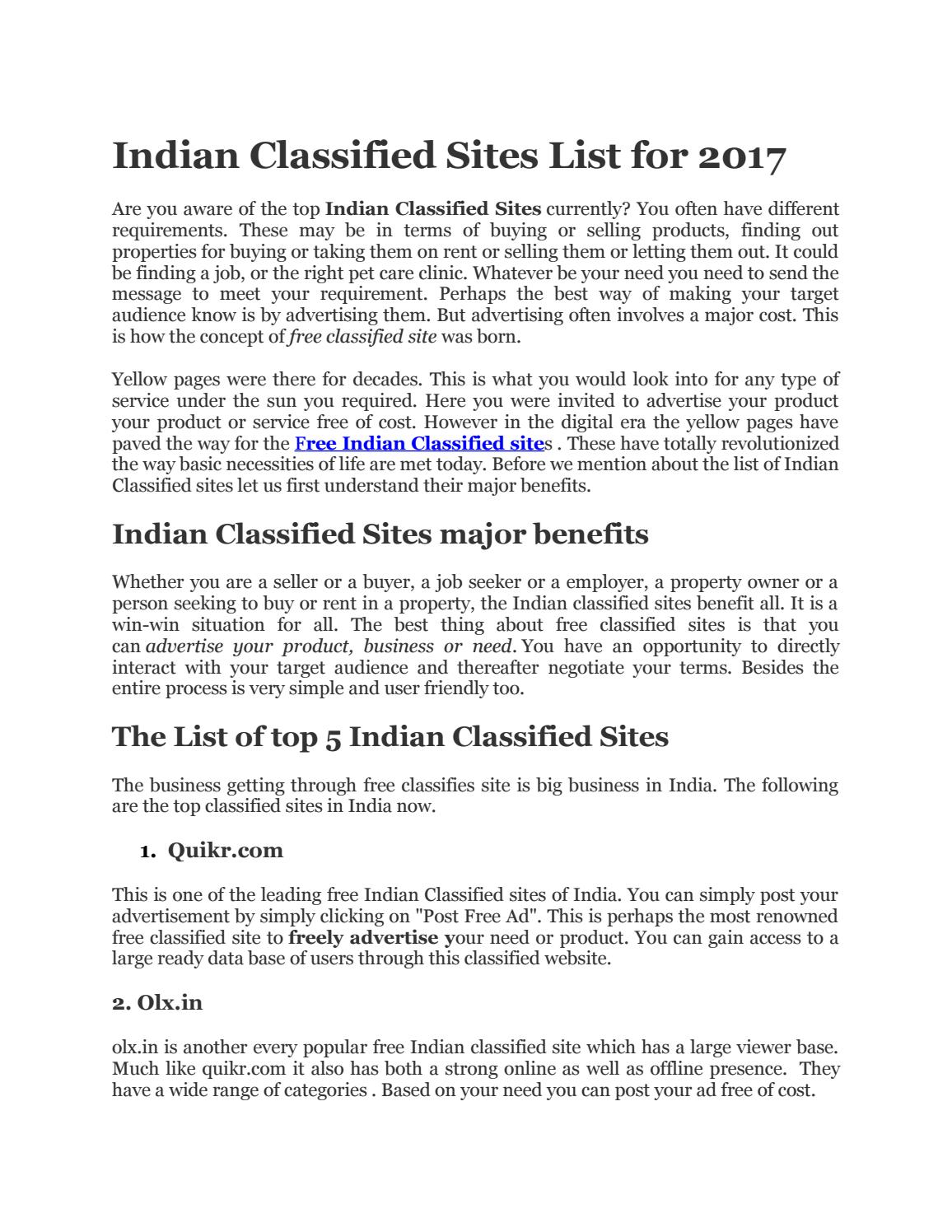 Free indian classified site list 2017-2018 - Download Doc
