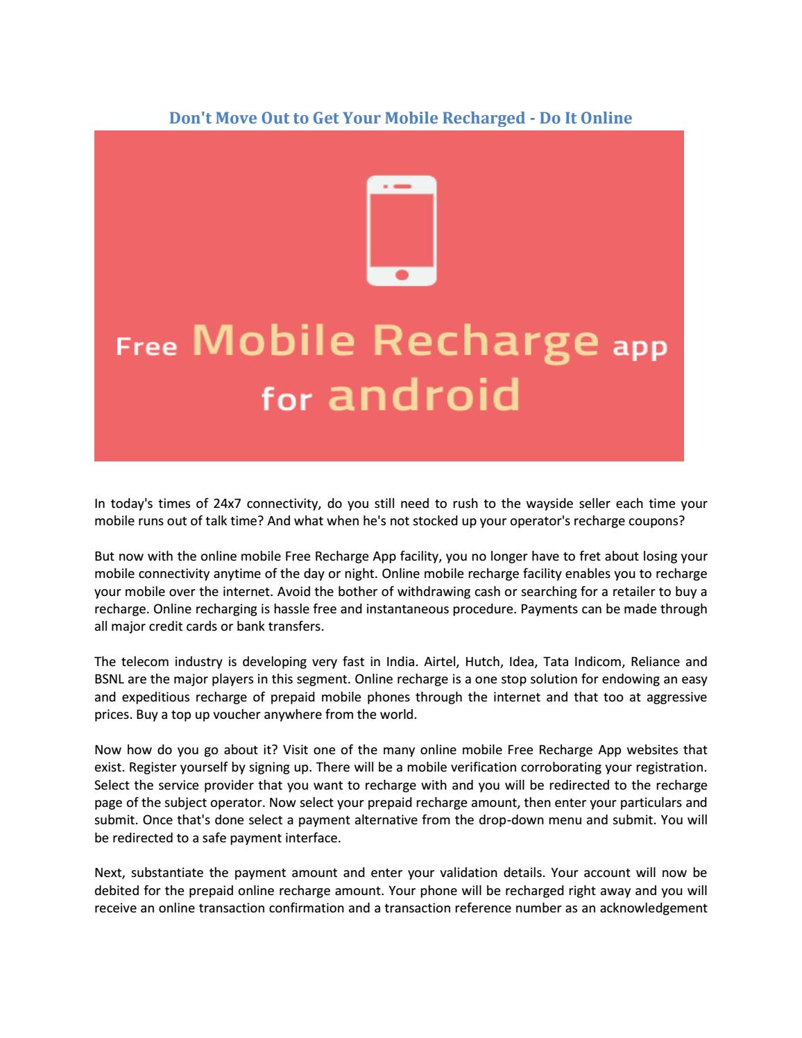 Don't Move Out to Get Your Mobile Recharged - Do It Online