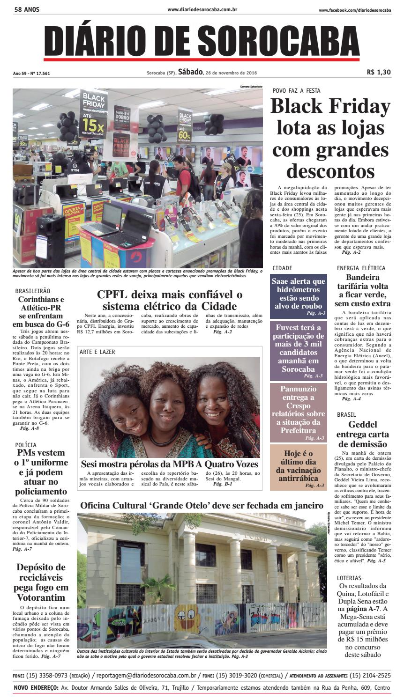 84507370a7 Edição de 26 de novembro de 2016 by DIÁRIO DE SOROCABA - issuu