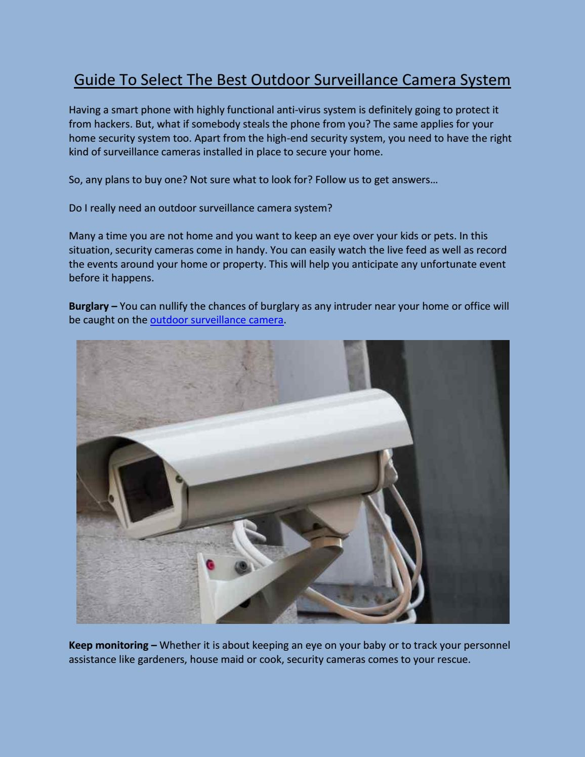 Guide to select the best outdoor surveillance camera system by