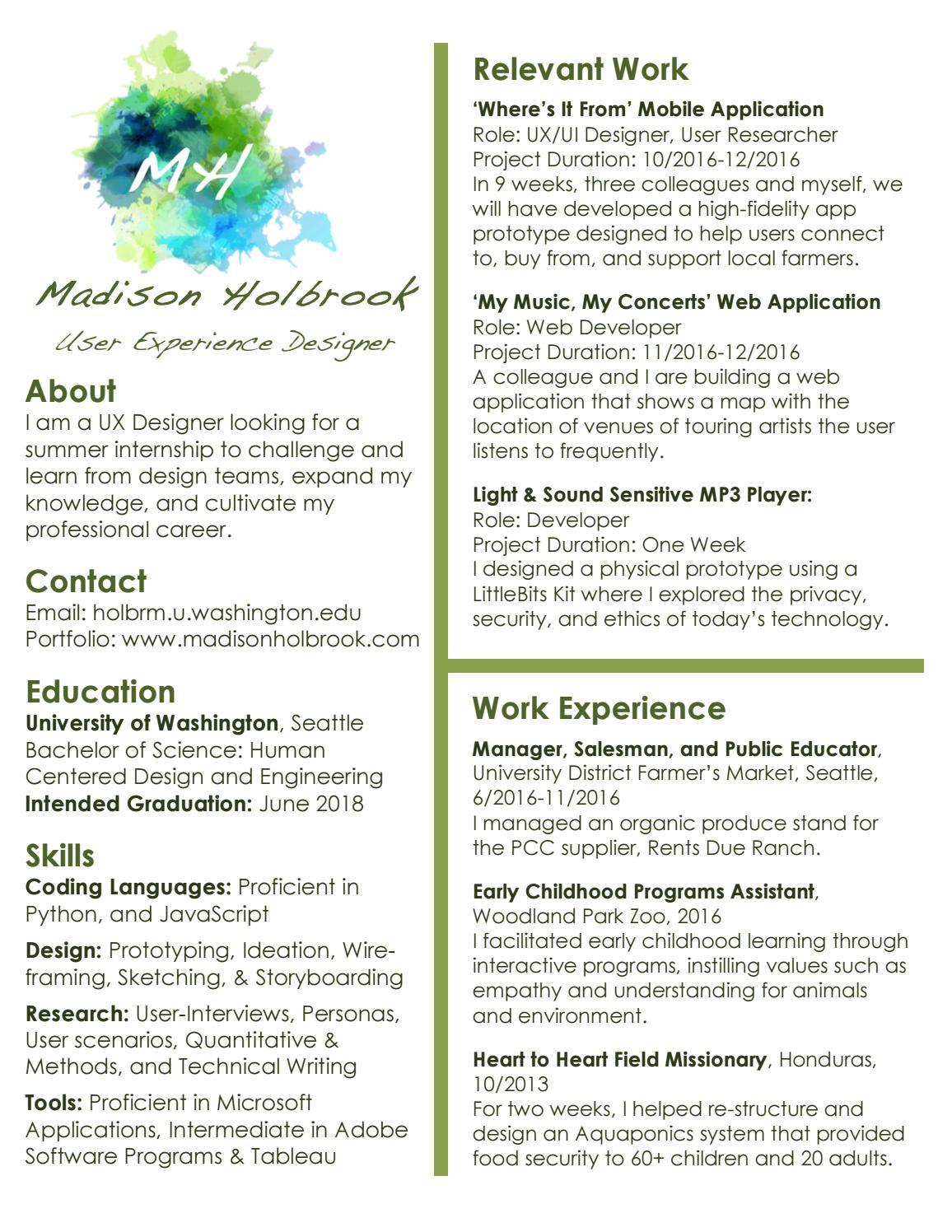 User Centered Design Resume by Madison Holbrook - issuu