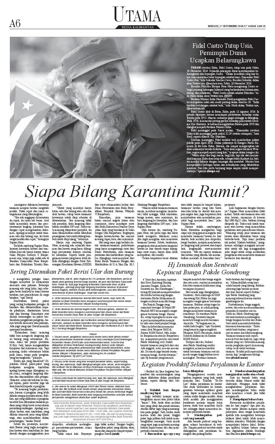 Media Kalimantan Minggu 27 November 2016 By Issuu Surat Balai Karantina Untuk Tanaman Dan Hewan