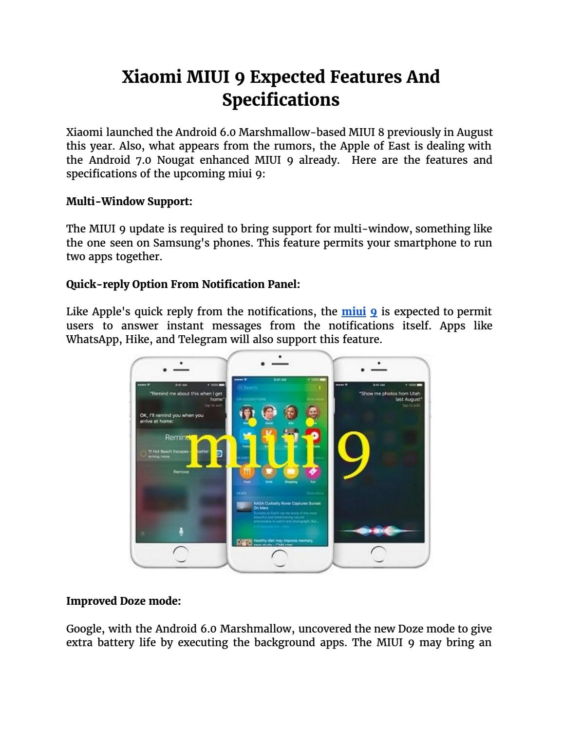 Xiaomi MIUI 9 Expected Features And Specifications by Arohi