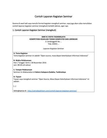 Contoh Laporan Kegiatan Seminar Hasil Kegiatan Seminar Mengadakan Seminar By Satriabajahitam Issuu