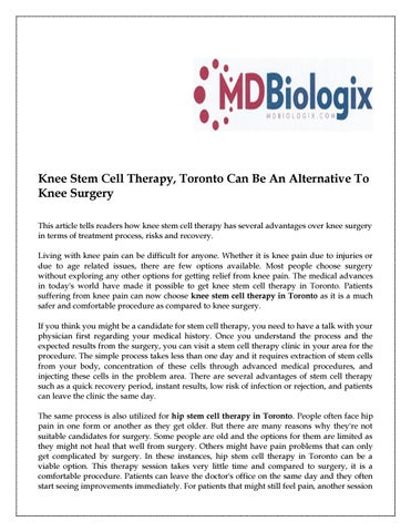 advantages of stem cell therapy
