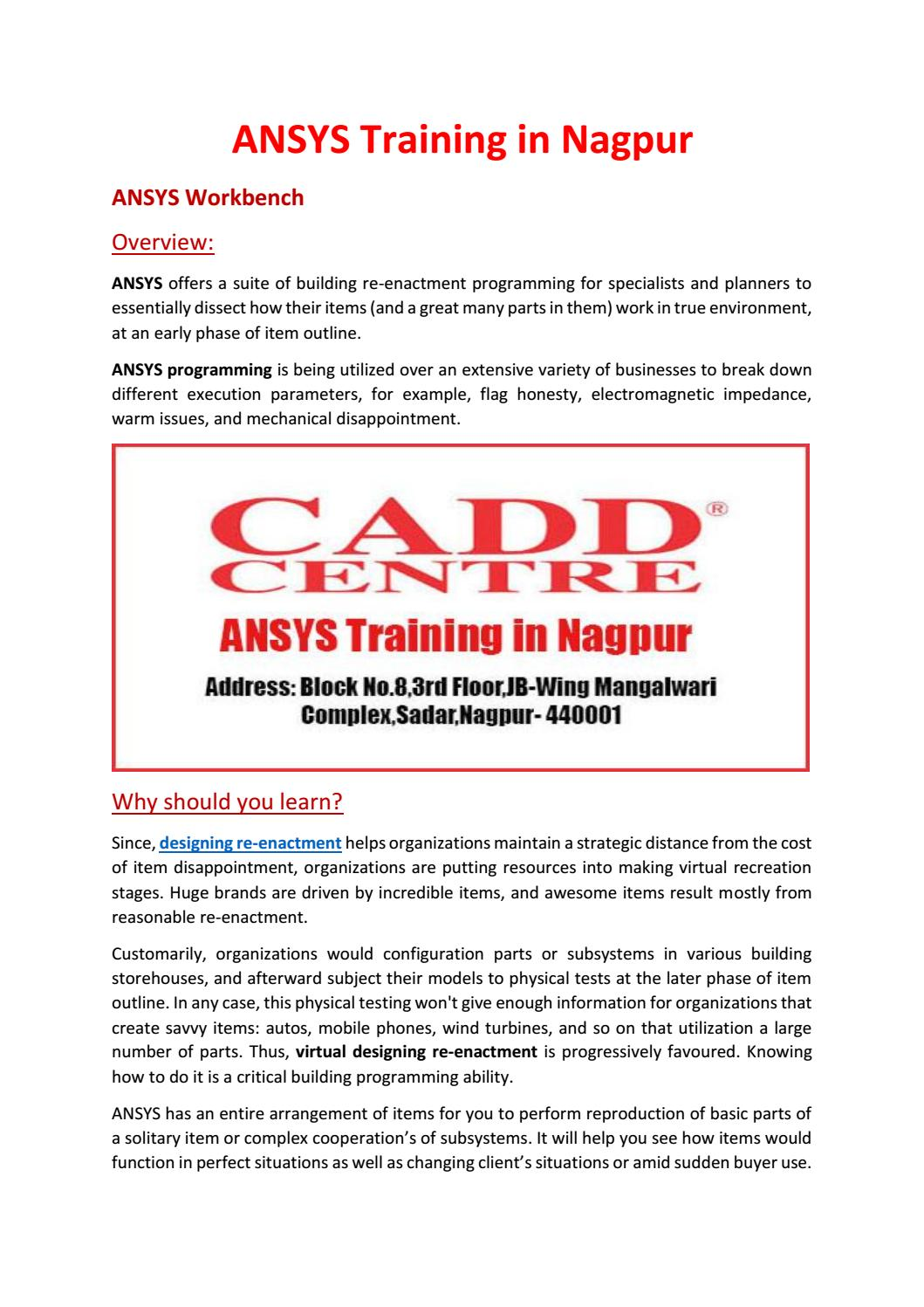 Ansys training in nagpur by caddcentrenag - issuu
