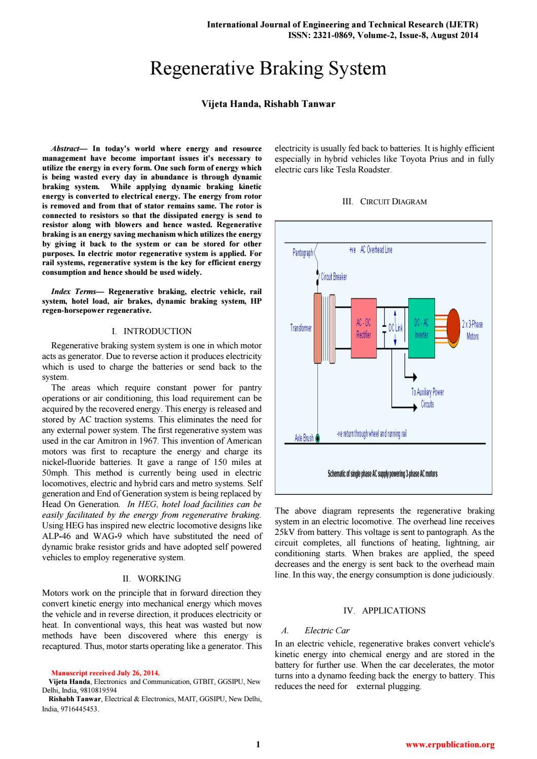 Regenerative Braking System by International Journal of Engineering