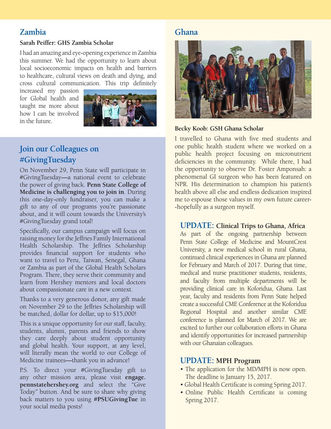 Global Health Newsletter Fall 2016 Psu Com By Ben Fredrick Issuu