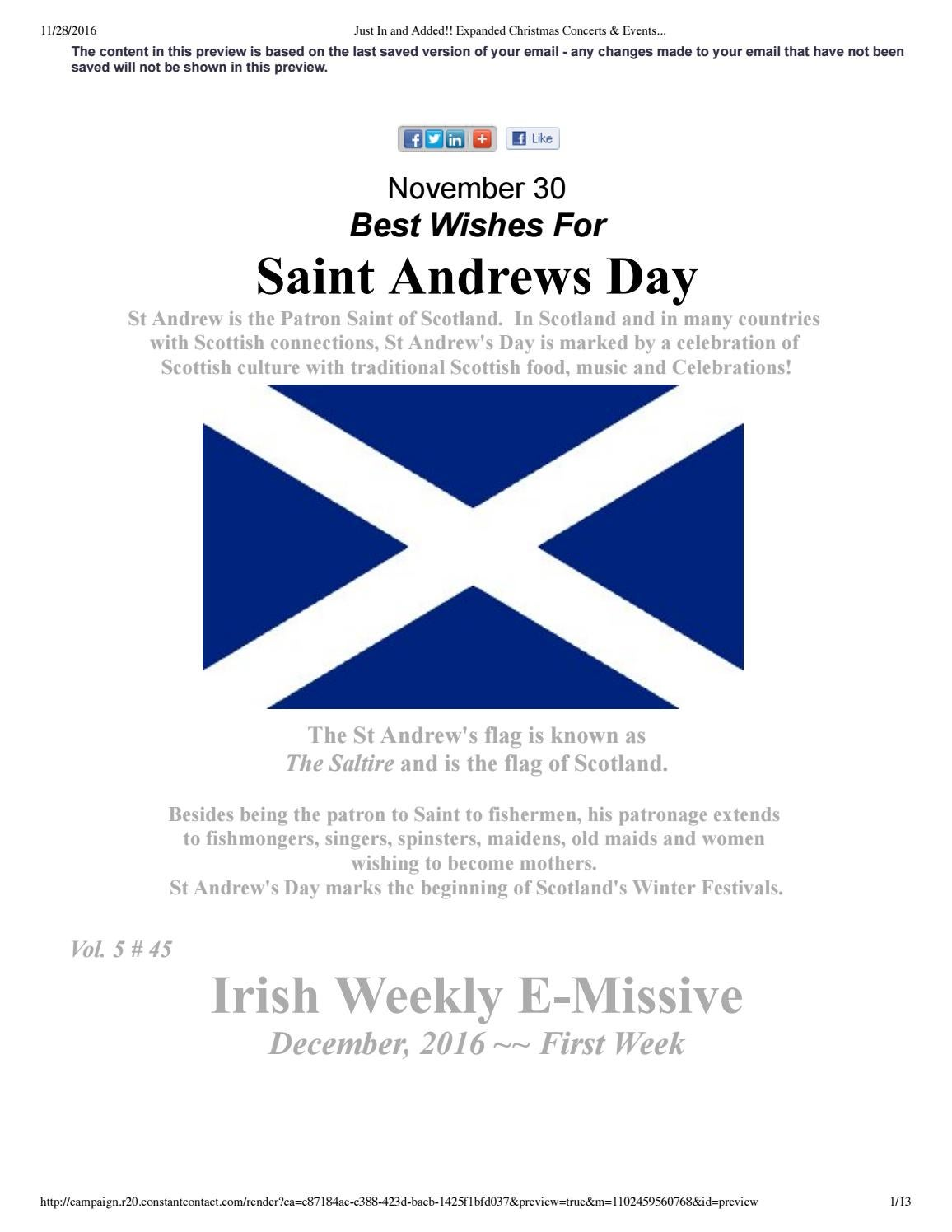 Happy St. Andrew\'s Day! Expanded Christmas concerts & events by ...
