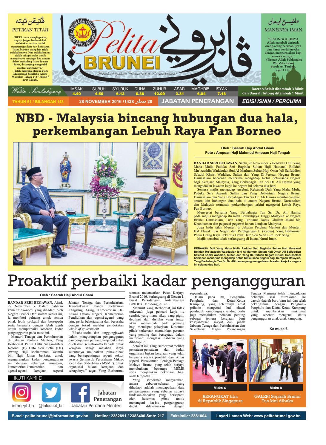Pelita Brunei Isnin 28 Nov 2016 By Putera Katak Brunei Issuu