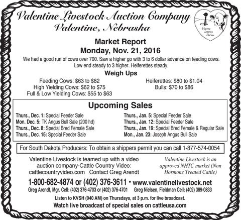 Fesselnd Valentine Livestock Auction Co. Market Report   11.28.16