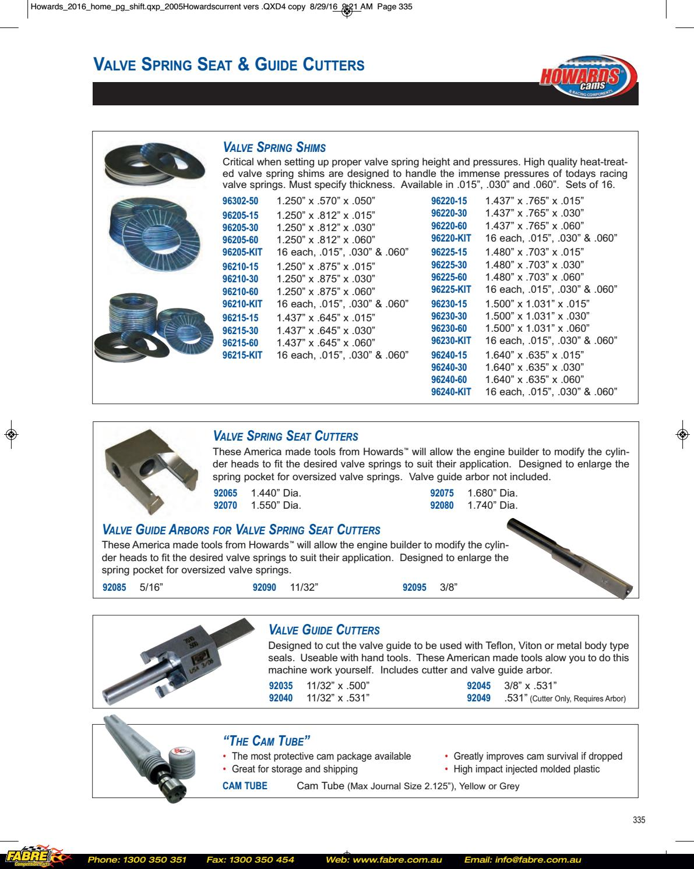 Howards Engine Valve Spring Shim 96220-15;