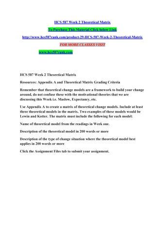 Hcs 587 week 2 theoretical matrix by manu70 - issuu