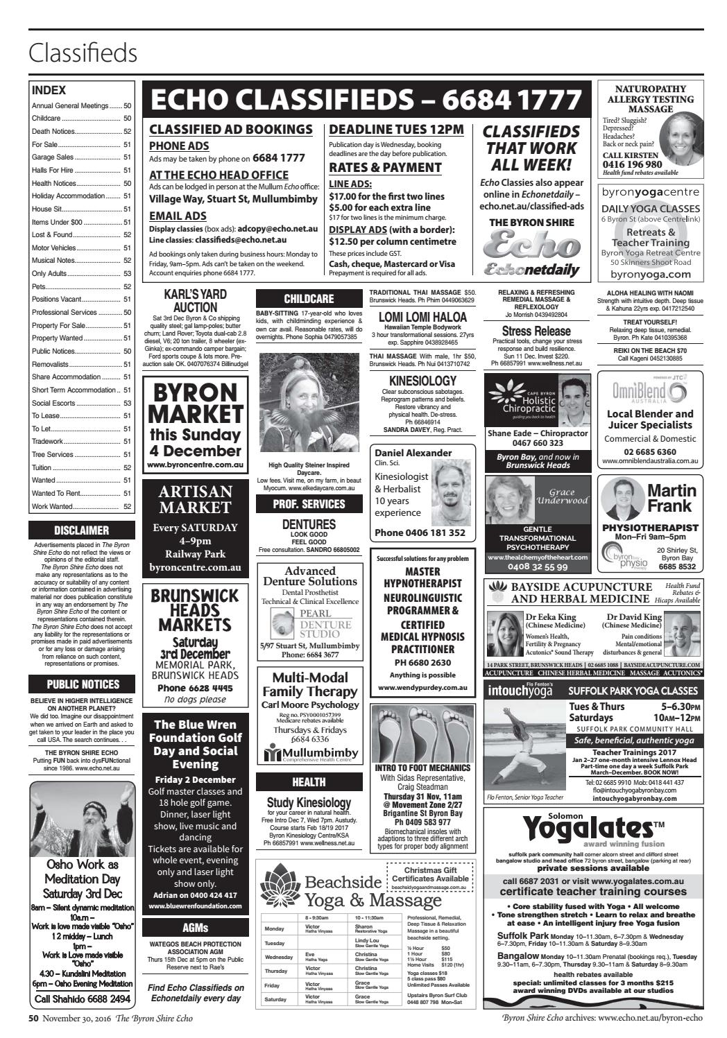 Byron Echo Classifieds Property For Sale