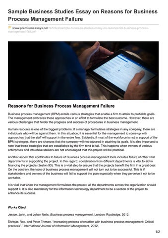 Sample Business Studies Essay On Reasons For Business Process Management  Failure Www.premiumessays.net ...