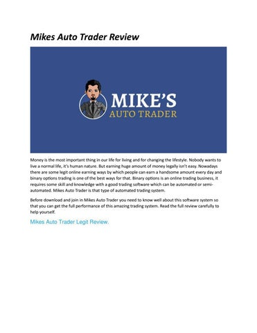 Mike's binary options auto trading