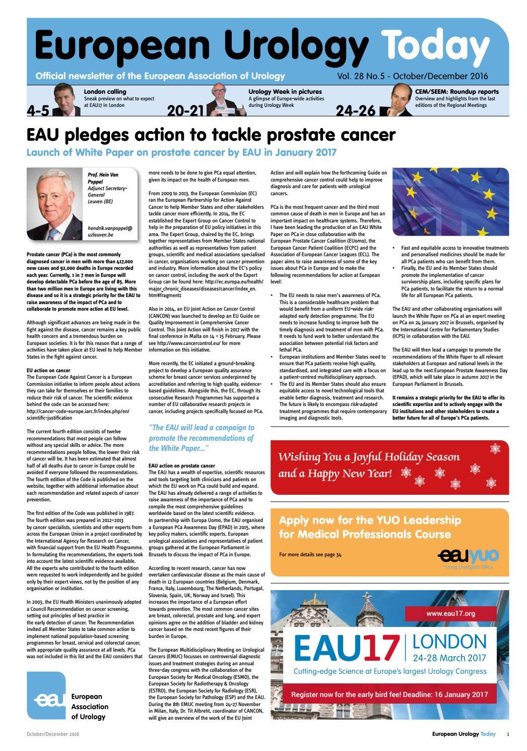 European Urology Today October/December 2016 by European Association of  Urology (EAU) - issuu
