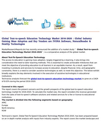 Global text to speech education technology market 2016 2020