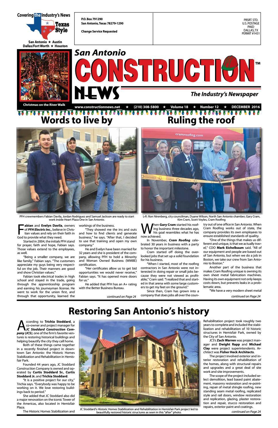 San Antonio Construction News December 2016 By