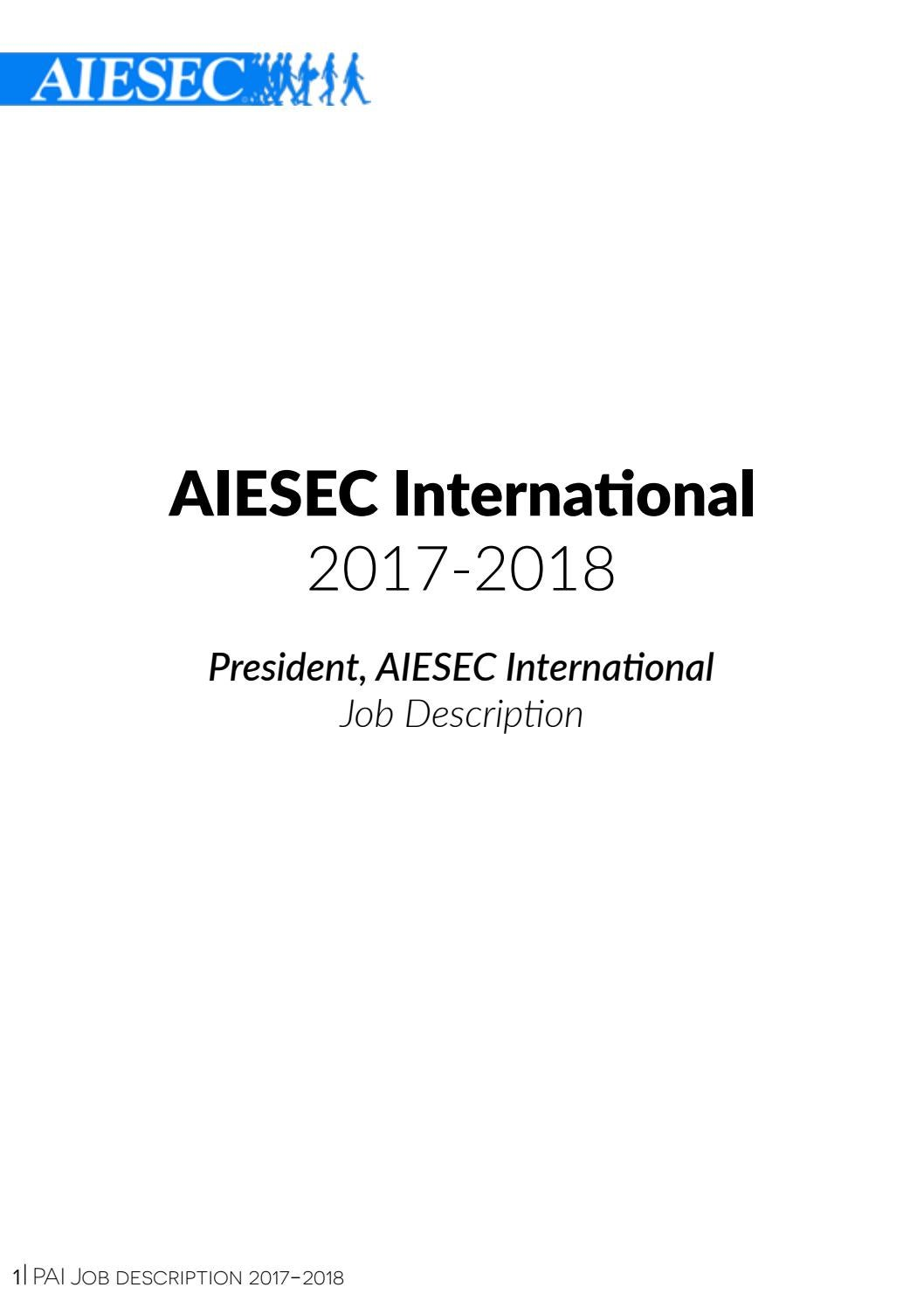 PAI Job Description 1718 by AIESEC International issuu – President Job Description