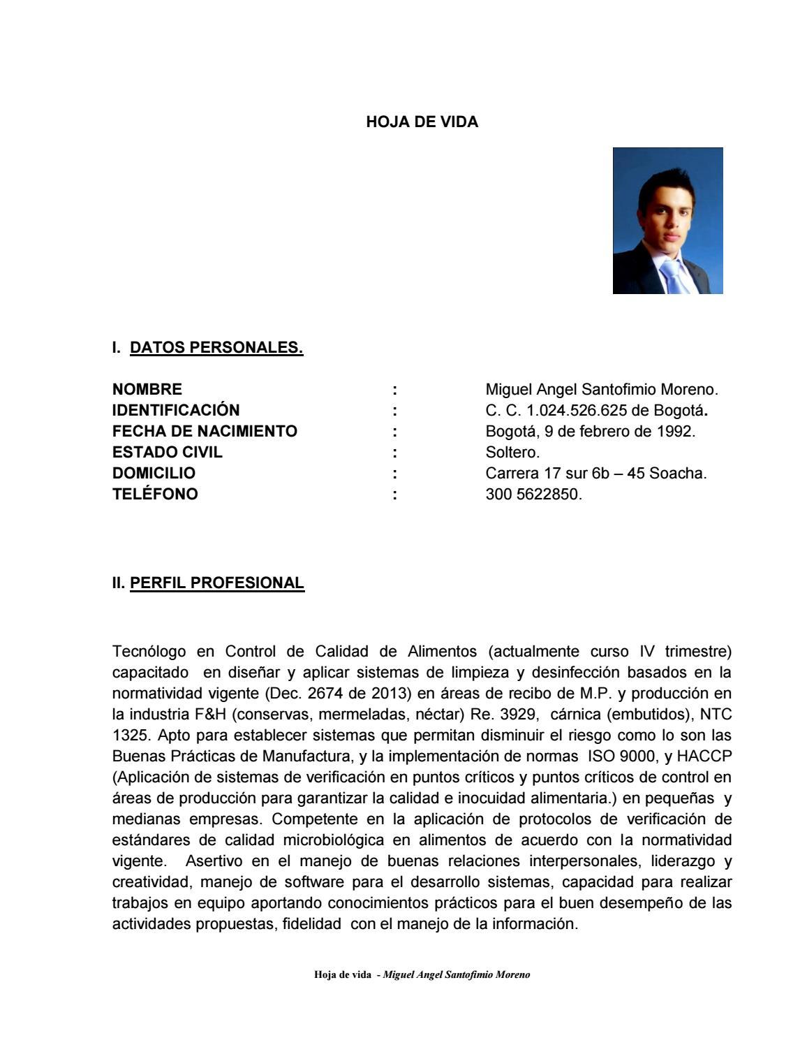 Hoja de vida (1) by Miguel Angel santofimio - issuu
