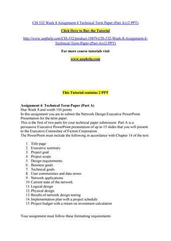 Cis 532 week 8 assignment 4 technical term paper (part a) (2