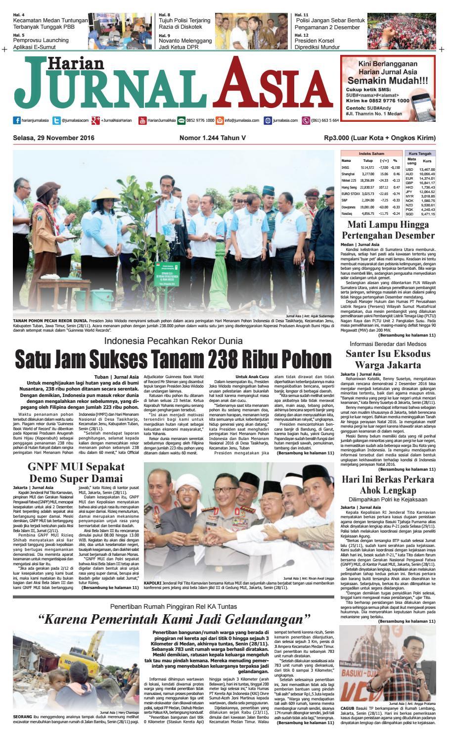 Harian Jurnal Asia Edisi Selasa 29 November 2016 By Produk Ukm Bumn Bella Dan Balon Merah Medan Issuu
