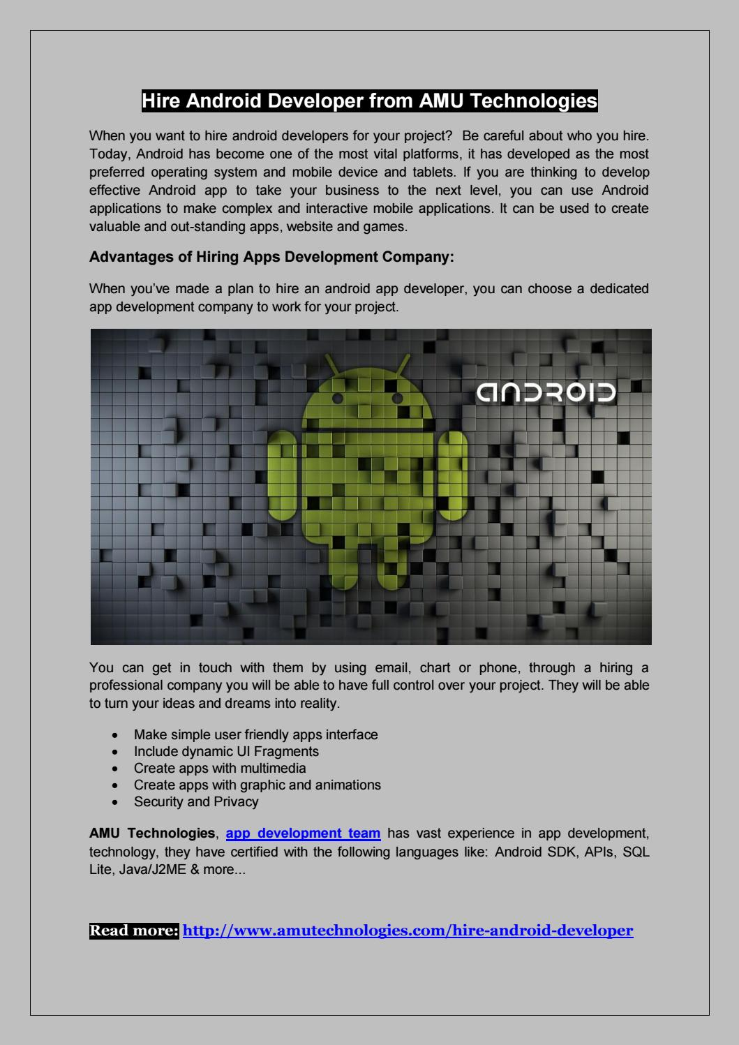 Hire android Developer by AMU Technologies - issuu