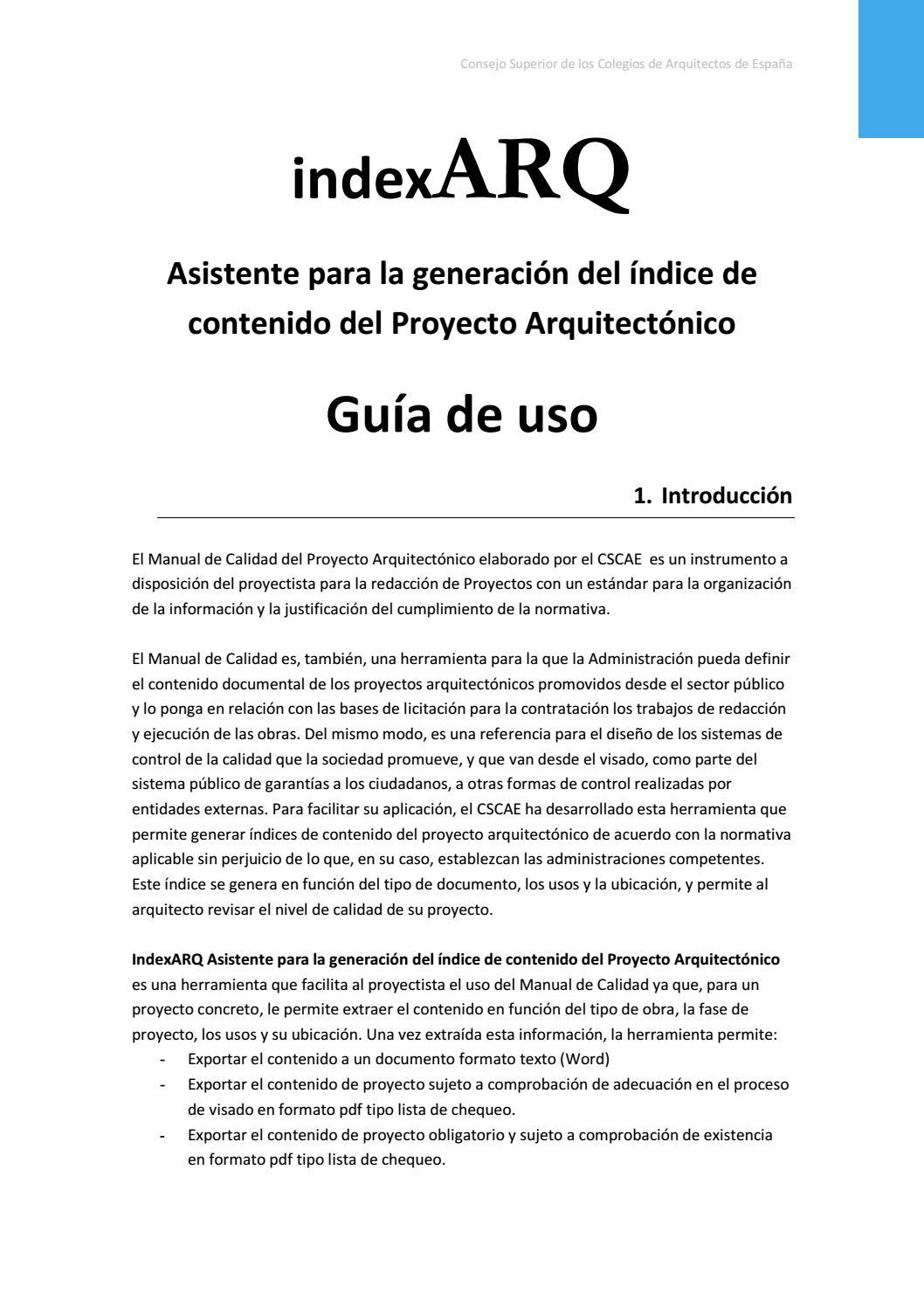Guia De Uso Indexarq By Consejo Superior De Colegios De