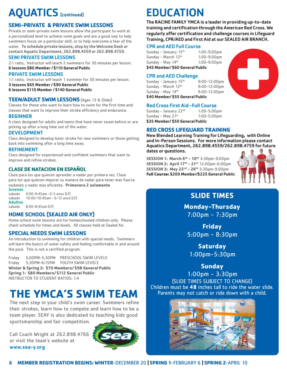 Racine Family Ymca 2017 Winterspring Brochure By Racine Family Ymca